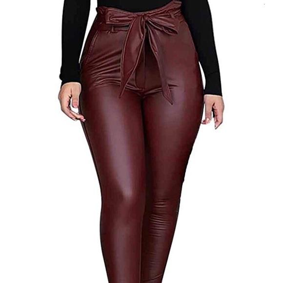 hirigin Pants - 0939 Women Leggings Leather High Waist Skinny